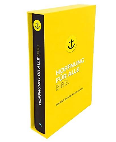 """Hoffnung für alle. Die Bibel - """"Black Hope Geschenkbibel"""" - Großformat mit Loch-Stanzung im gelben Schuber: Die Bibel, die deine Sprache spricht"""