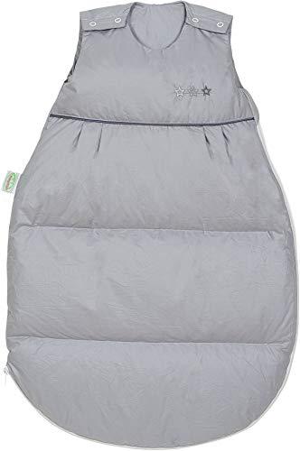 Set Odenwälder Daunen-Schlafsack mit Stoffwindel von Kinderhaus Blaubär/Baby Winterschlafsack mit Premiumdaunen & atmungsaktiv & längenverstellbar, Größe:130, Design:silber