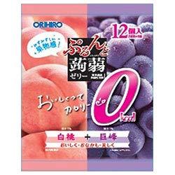 オリヒロ ぷるんと蒟蒻ゼリーカロリーゼロ 白桃+巨峰 18gパウチ×12個×12袋入×(2ケース)