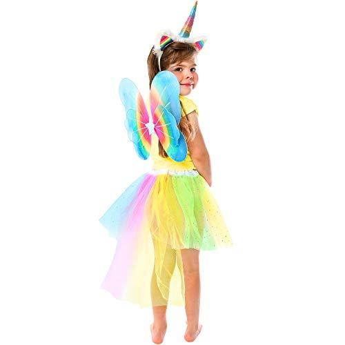 GirlZone Geschenke für Mädchen - Einhorn Kostüm Kinder - Set Verkleidung für kleine Mädchen mit Haarreif, Einhorn-Schwanz, Regenbogen Rock und Flügeln - Verstellbares Kinder-Outfit 3-6 Jahre