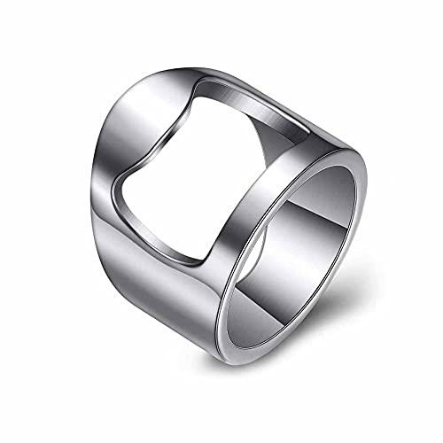 VQYSKO Bottle Opener Ring Band-Beer Bar Tool Creative Versatile Stainless Steel Finger Party Ring (silver, 6)