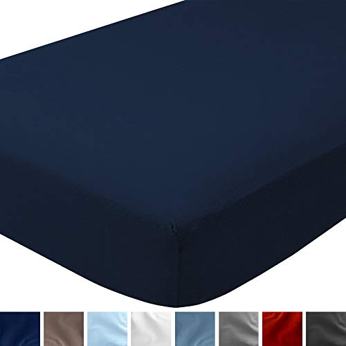 Bare Home Flannel Fitted Bottom Sheet 100% Cotton, Velvety Soft Heavyweight - Double Brushed Flannel - Deep Pocket (Queen, Dark Blue)