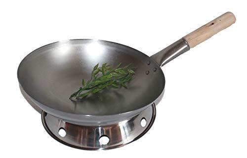 AAF Nommel ®, Wok Set, Pfanne 36 cm Ø runder Boden Carbon Stahl für Gasherd und Induktion Mulde + Wok Ring zum Abstellen des Wok