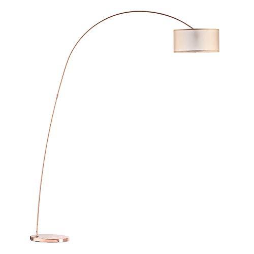 Modernluci Lámpara de pie forma de arco luz de interior decoración moderna para el salón, cobre, dormitorio, lámpara de pie, estilo escandinavo, con pantalla de tela, diámetro de 40 cm, altura: 205 cm