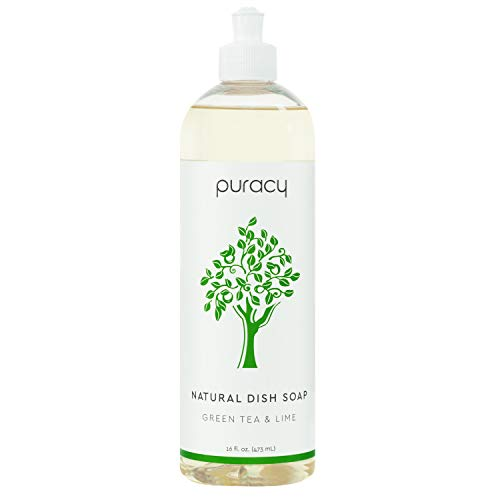 Puracy Natural Dish Soap, Green Tea & Lime, Sulfate-Free Liquid Dishwashing Detergent, 16 Ounce