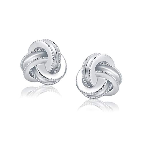 Gold Plated Sterling Silver Studs Love Knot Earrings For Women | Hypoallergenic \u0026amp; Nickle Free Jewelry for Sensitive Ears (8, white-gold-plated-silver)