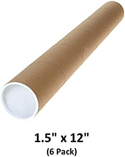 Mailing Tubes with Caps, 1.5 inch x 12 inch (6 Pack)   MagicWater Supply