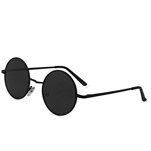 AMZTM Runde Sonnenbrille Retro Klassisch Vintage Mode Metallrahmen Klein Kreis Polarisierte Damen Herren Verspiegelt Fahren Brillen UV 400 Schutz (Schwarz Rahmen Grau Linse, 46)