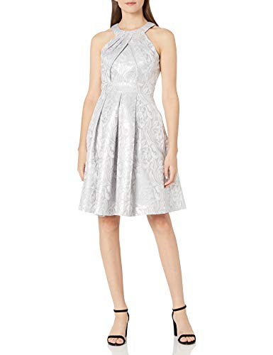 Eliza J Women's Halter Midi-Length Party Dress, Silver, 10