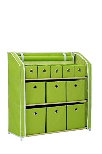 JEROAL Multi-Bin Storage Unit Organizer with Storage Bins Multi-Section Storage Cabinet Sturdy Metal Shelf Frame (Green)