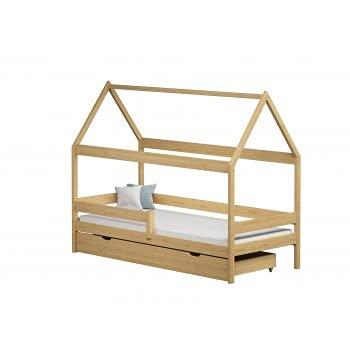 Children's Beds Home - Cama individual en forma de casa con dosel - Teddy - Cama individual - Teddy - 200x90, Natural, Gran Individual, Colchón de Fibra de Latex/Coco de 10 cm