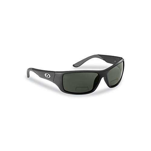 Flying Fisherman 7391BS-250 Triton Polarized Sunglasses, Matte Black Frame, Smoke Bifocal Reader +2.50