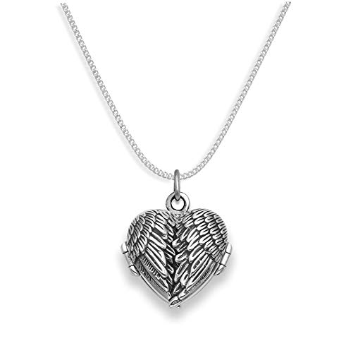 Genuine 925 Sterling Silver Angel wings locket Necklace on 18' silver chain 1.5mm thick - SIZE: 19mm x 23mm (inc. pendant ring) - Gift Boxed. 8017/8501/18