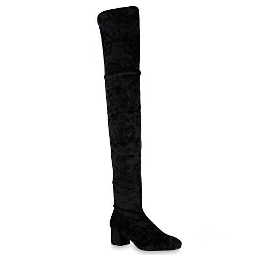 Damen Schuhe Stiefel Overknees Samt-Optik Leicht Gefütterte Langschaftstiefel Blockabsatz 127115 Schwarz Samtoptik 37 Flandell
