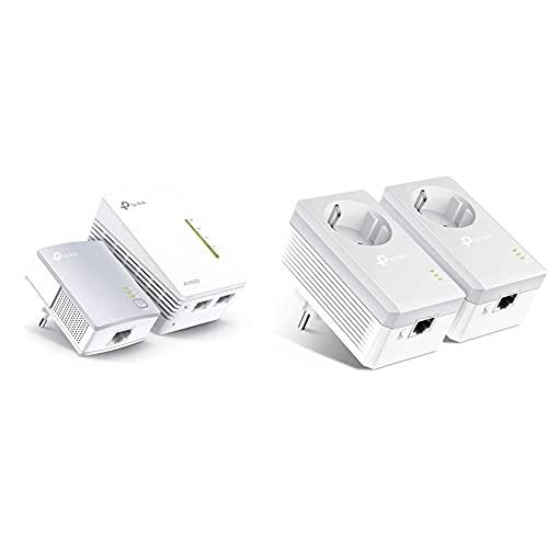 Tp-Link Tl-Wpa4220 Kit - 2 Adaptadores De Comunicación por Línea Eléctrica + Tl-Pa4010P Kit Powerline con Enchufe Adicional, AV 600 Mbps En Powerline, 1 Puerto Ethernet