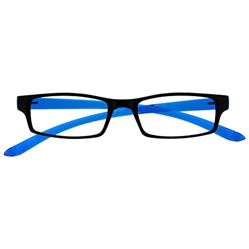 occhiali da lettura 1 50 Uv Reader Nero Blu Brillante Collo Occhiali Da Lettura Uomo Donna Uvr020 +1