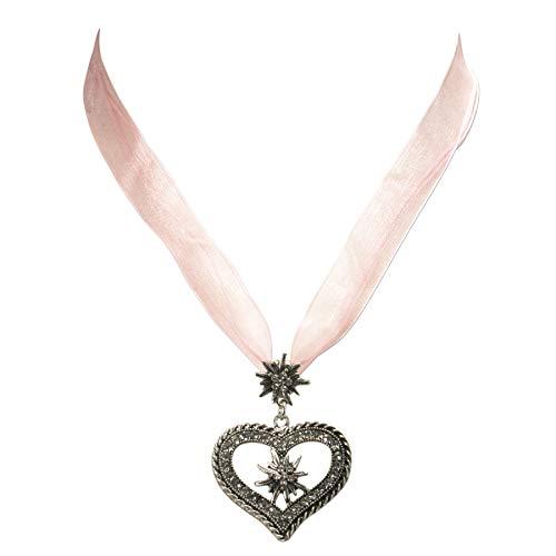 Trachtenkette Organzaband mit Strassedelweissherz - Damen Dirndlkette mit Kristallsteinen, Herz Organzakette Edelweiss für Trachtenbluse und Lederhose, Dirndl-Schmuck fürs Oktoberfest (rosé)