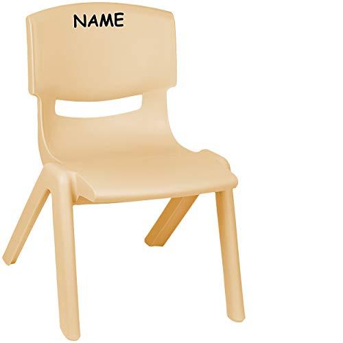 alles-meine.de GmbH Kinderstuhl / Stuhl - Farbwahl - Holz Farben - beige - inkl. Name - Plastik - bis 100 kg belastbar / kippsicher - für INNEN & AUßEN - 0 - 99 Jahre - stapelbar..