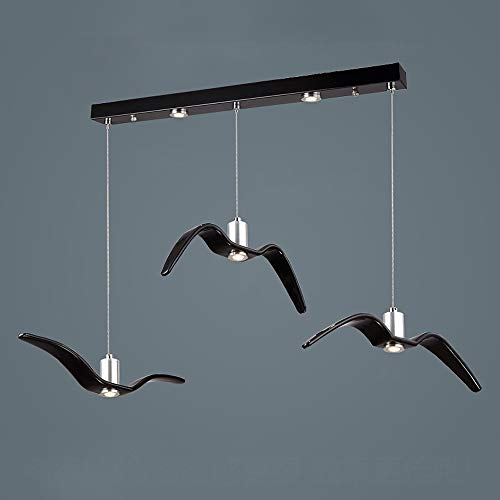 Nordic/American LED Seagull wind chimes hanglamp zwart wit 3 koppen vogel plafondlamp verstelbare hangende draad kroonluchter kledingwinkel trappenhuis lamp (Chassis: rond/rechts