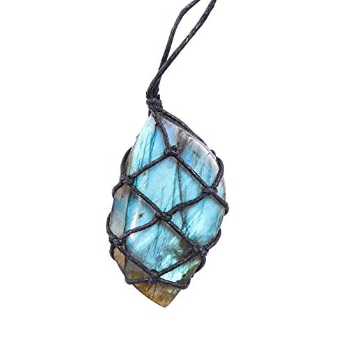 QWEQWE Collar Colgante de Cuarzo Piedra Natural Colgante Wrap Macrame Collares Hombres Mujeres Energía Collar Joyería (Metal Color : 8)