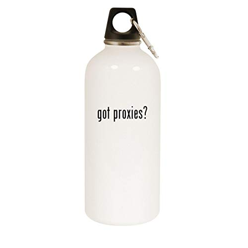 got proxies? - 20oz Stainless Steel White Water Bottle with Carabiner, White