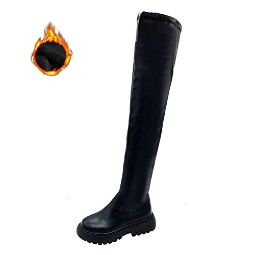 FBRR Botas de Rodilla Plana Negras Zapatos de Mujer Plataforma Muslo Botas Altas Zapatos de Invierno Botas largas Hembra 2020 Zapatos de Espesor (Color : Plush Lining, Shoe Size : 35)