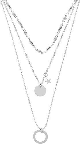 styleBREAKER Damen Edelstahl Layer Halskette 3-reihig mit Ring, Stern und rundem Anhänger, Ankerkette, Kugelkette, Schmuck 05030060, Farbe:Silber