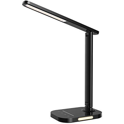 LITOM Schreibtischlampe LED, 5 Farb & 10 Helligkeitsstufen, Handy USB-Anschluss, Dimmbar Tischlampe mit Touchbedienung, Timer, Nachtlicht, Tragbar, Augenschutz für Büro, Lesen, Kinder, Schwarz