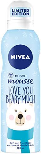 NIVEA Dusch Mousse Love You Beary Much (200 ml), Duschpflege mit dem Duft von fruchtiger Aprikose & Mandelmilch, Duschschaum für seidige Haut