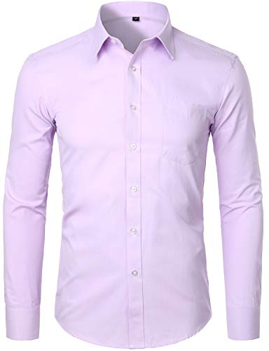 ZEROYAA Men's Long Sleeve Micro Twill Dress Shirt Basic Slim Fit Button Up Business Formal Shirts with Pocket ZYSGCL02 Lavender Large