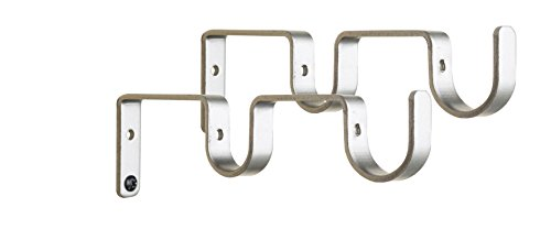 Urbanest Set of 2 Double Curtain Rod Bracket for 1-inch and 3/4-inch Rod, Pewter