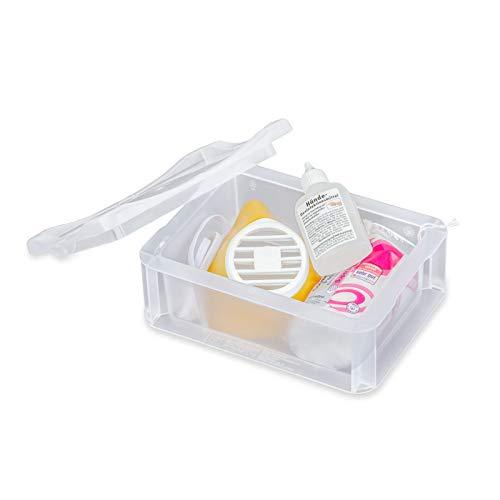 aidB BOX M Mund-Nasen-Maske, gelb, mit Box, Desinfektionsmittel und Pads