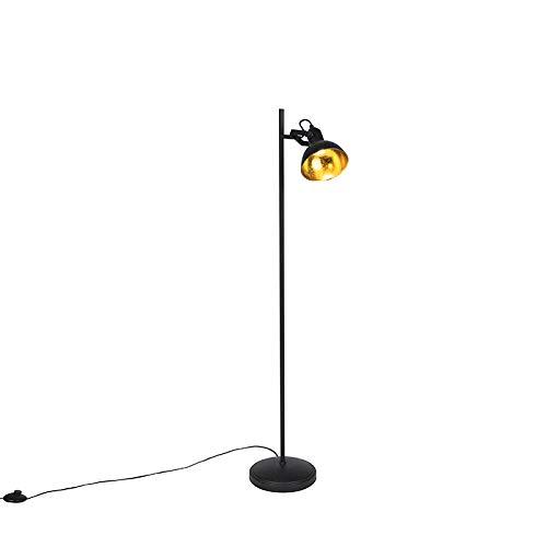 QAZQA Industriel Lampadaire/Lampe de sol/Lampe sur Pied/Luminaire/Lumiere/Éclairage industriel noir intérieur doré 1 lumière - Tommy Acier Noir Oblongue/Rond E14 Max. 1 x 28 Watt/Salon