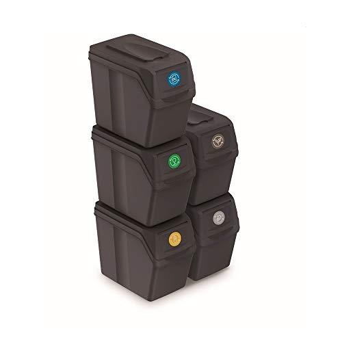 Prosperplast Juego de 5 Cubos de Reciclaje 100L Sortibox de plastico en Color Antracita, 5x20L