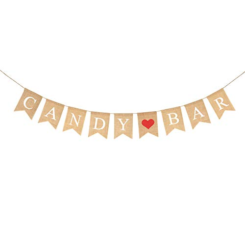 Candy Bar Banner,KAKOO Burlap Sweet Swallowtail Bunting Rustic Burlap Flag for Wedding Baptism Sugar Table Decor Party Supply