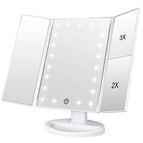WEILY Makeup Vanity Mirror with 21 Led Lights, Trifold Dual Power Magnifying LED Lighted Cosmetic Mirrors (White)