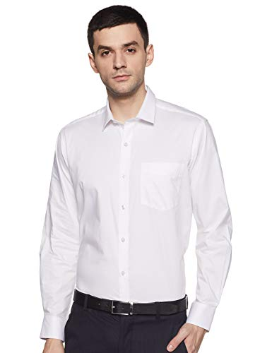 Amazon Brand – Arthur Harvey Men's Solid Regular Shirt (SS20-AH-SH-01_EPP-1A_White 2 42)