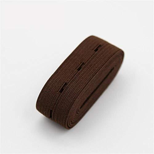 Piore 2cm kleurrijke verstelbare platte elastische band met knoopsgaten elastische band voor luier zwangere kledingstuk naaien accessoires 1m, koffie 1 meter