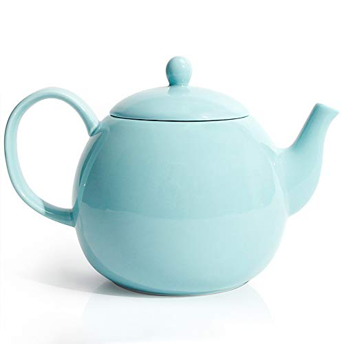 Sweese 220102 Porcelain Teapot 40 Ounce Tea Pot  Large Enough for 5 Cups Turquoise