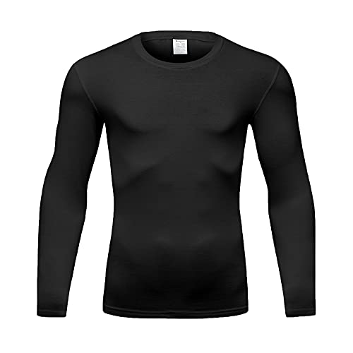 BINSTERAIN Men's Long Sleeve Shirts Elastic Cotton Spandex UPF 50+ Sun Protection SPF Dri Fit Lightweight T-Shirt Outdoor Hiking Running (Long Sleeve Black, S)