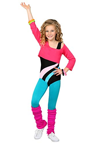 Workout Girl 80s Kids Costume for Girls 80s Workout Outfit Costume X-Large