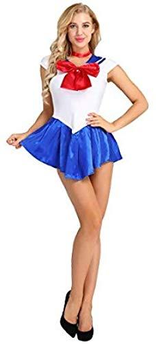 Disfraz de Mujer Vestido de Marinero Sailor Moon Disfraz de Cosplay Vestido de Colegiala Disfraz de Marinero para Cosplay Fiesta de Halloween Navidad@L_Azul