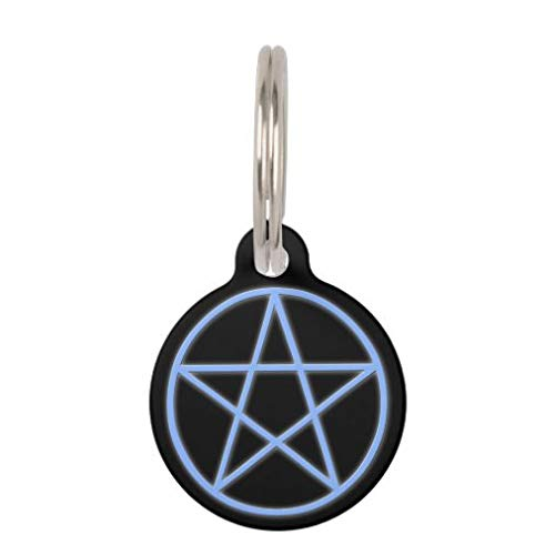 onepicebest Pet ID Tags, Personalized Dog Tags and Cat Tags, Falln Pagan Pentacle Pet Name Tag - Custom Double Sides Round Puppy Tag - Stainless Steel