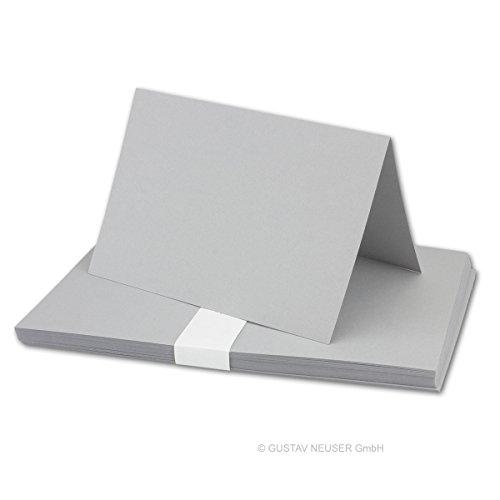 Gustav Neuser, DIN A5, vouwen kaarten, uitnodigingskaarten, menukaarten, kerkenboekje, blanco, 14,8 x 21 cm, merk FarbenFroh® 10 Karten 35 lichtgrijs