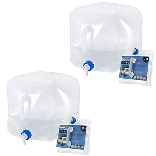 RISEPRO Contenitore per l'acqua pieghevole 20L Confezione da 2 caraffa per l'acqua senza BPA