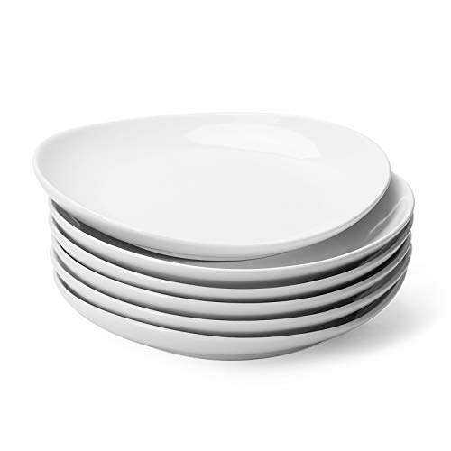 Sweese 151.001 Porcelain Dessert Salad Plates - 7.8 Inch - Set of 6, White