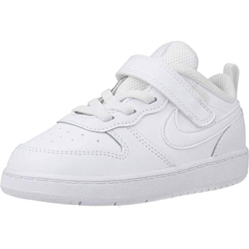 Nike Baby-Boys Court Borough Low 2 (TDV) Sneaker, White/White-White, 21 EU