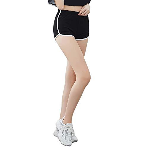 iloveSIA Damen Kurze Radlerhose Sportshorts Tanzshorts Shorts aus Baumwolle Fitness Yoga Hotpants Schwarz Dolphin S