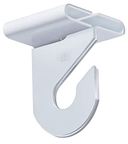 """Pack of 50 Pairs - High Strength Aluminum Two Piece Ceiling Hooks for Drop-Ceiling T-Bars, 50 Right and 50 Left, White Enamel Finish, Holds up to 15 lbs. 1""""W x 1 ½""""H"""