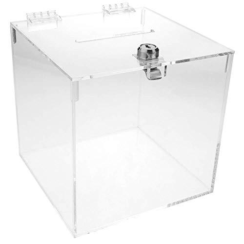 PrimeMatik - Urna de metacrilato Transparente con Llave de Seguridad 15x15x15cm